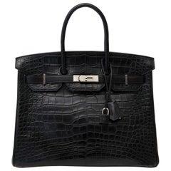 Super Rare Hermes Black Birkin35 Three Skin (Alligator, Clemence Taurillon, Box)