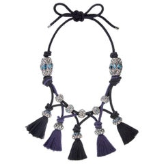Lanvin Tasseled Knotted Crystal Necklace