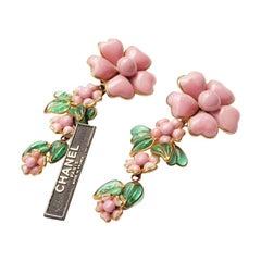 Couture Chanel Gripoix Pate de Verre Flower Earrings 1993