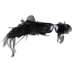 F/W 2007 Chanel Haute Couture Runway Numbered Black Feather Sunglasses