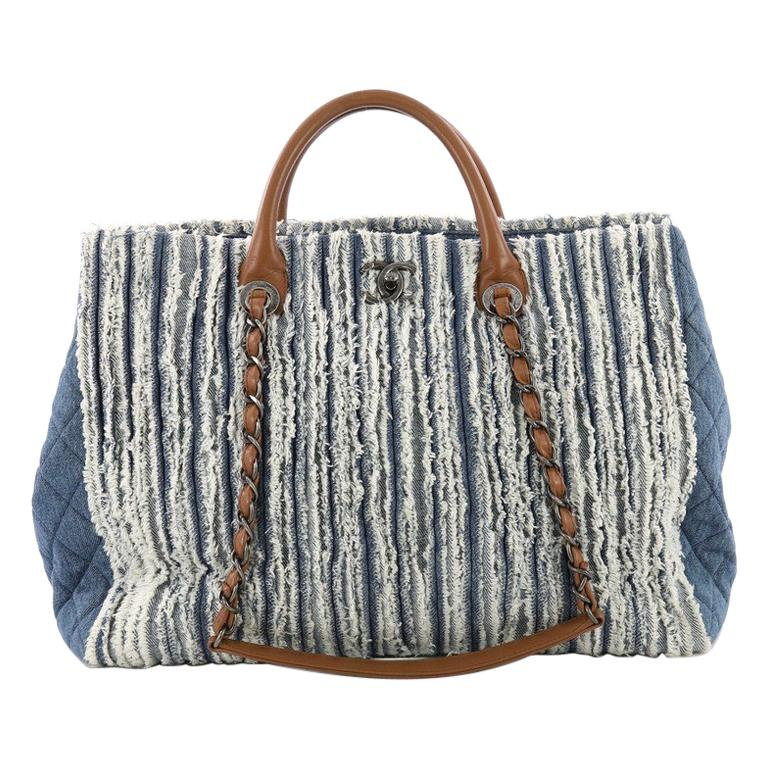 bb58b94bcdd4 Chanel Shopping Tote Fringe Denim Large For Sale at 1stdibs