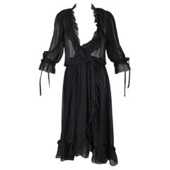S/S 1978 Christian Dior Haute Couture Sheer Black Silk Wrap Dress