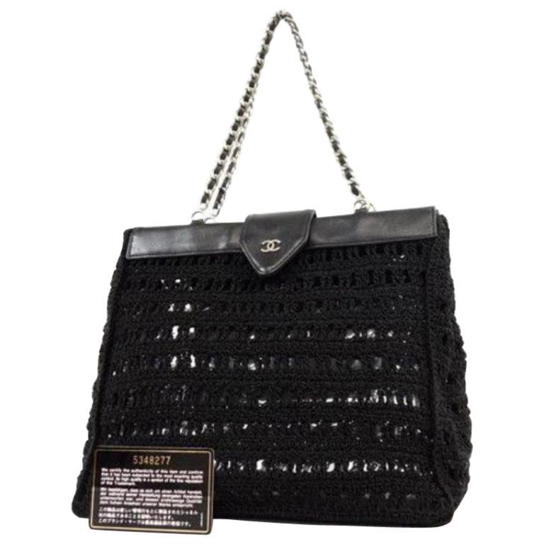 911957f3e7d1 Chanel Supermodel (Ultra Rare) Woven Mesh Chain Tote 230512 Black Shoulder  Bag For Sale