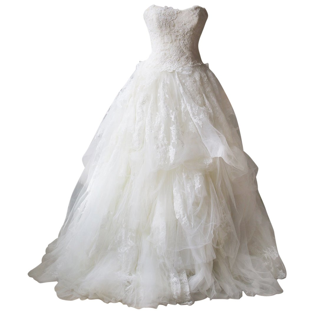 Vera Wang Luxe Embellished Lace and Tulle Wedding Dress
