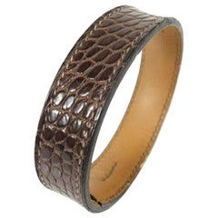 Hermès Brown Alligator Bangle Cuff 233154 Bracelet