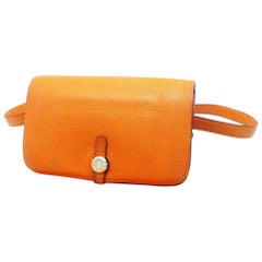 Hermès Dogon Waist Pouch Belt Fanny Pack 230499 Orange Leather Cross Body Bag