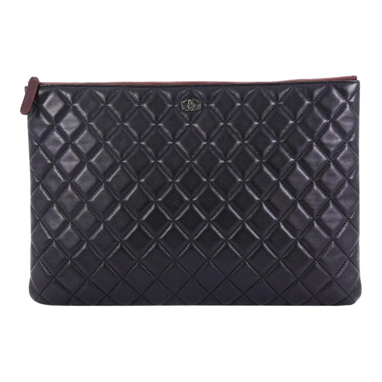 Chanel O Case Clutch Quilted Lambskin Large For Sale