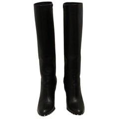 Valentino Black Leather Rockstud Knee High Boots