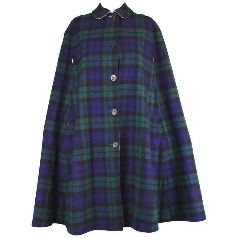 0b473ffccf7d Burberry Vintage 1960s Blue & Green Checked Wool Plaid Cape Coat For Sale
