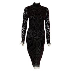 Pucci Sheer Net, Lace Trim with Velvet Appliques and Beads Tea Length Dress