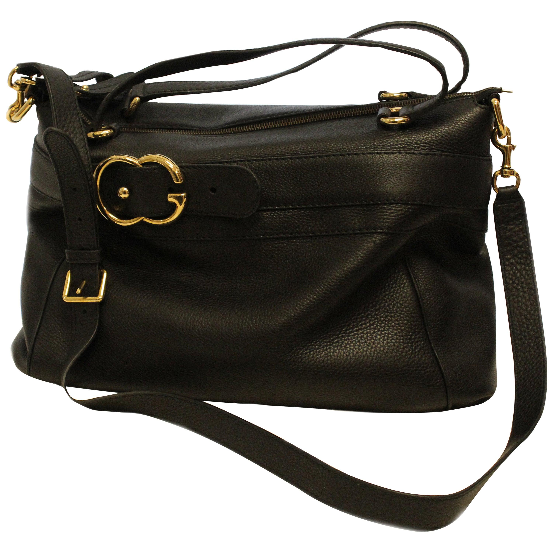 720b86902d8b Gucci Large Black Pebbled Leather Top Handle GG Logo Shoulder Bag at 1stdibs