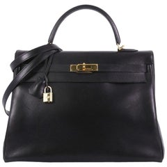 Hermes Kelly Handbag Black Box Calf with Gold Hardware 35