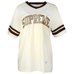 Supreme Men's Beige Glitter Logo Arc Football T-Shirt Sz M