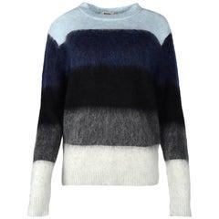 ACNE Studios Blue/Grey/Black Striped Long Sleeve Mohair Sweater NWT Sz XXS