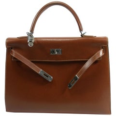Hermès kelly Bag 2 / 35 cm Sellier Leather Grainé Brown 2003 / Good Condition
