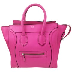 Céline Luggage Calf Micro Pantom Tote Pink Bullhide Leather Shoulder Bag
