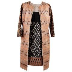 Giambattista Valli Patterned Panelled Shift Dress and Coat Set Suit Size 42