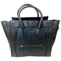 Céline Luggage Calf Medium Pantom Tote Black Bullhide Leather Shoulder Bag