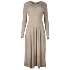 Michael Kors NWT Tan/Taupe Long Sleeve Knit Sweater Midi Dress Sz S