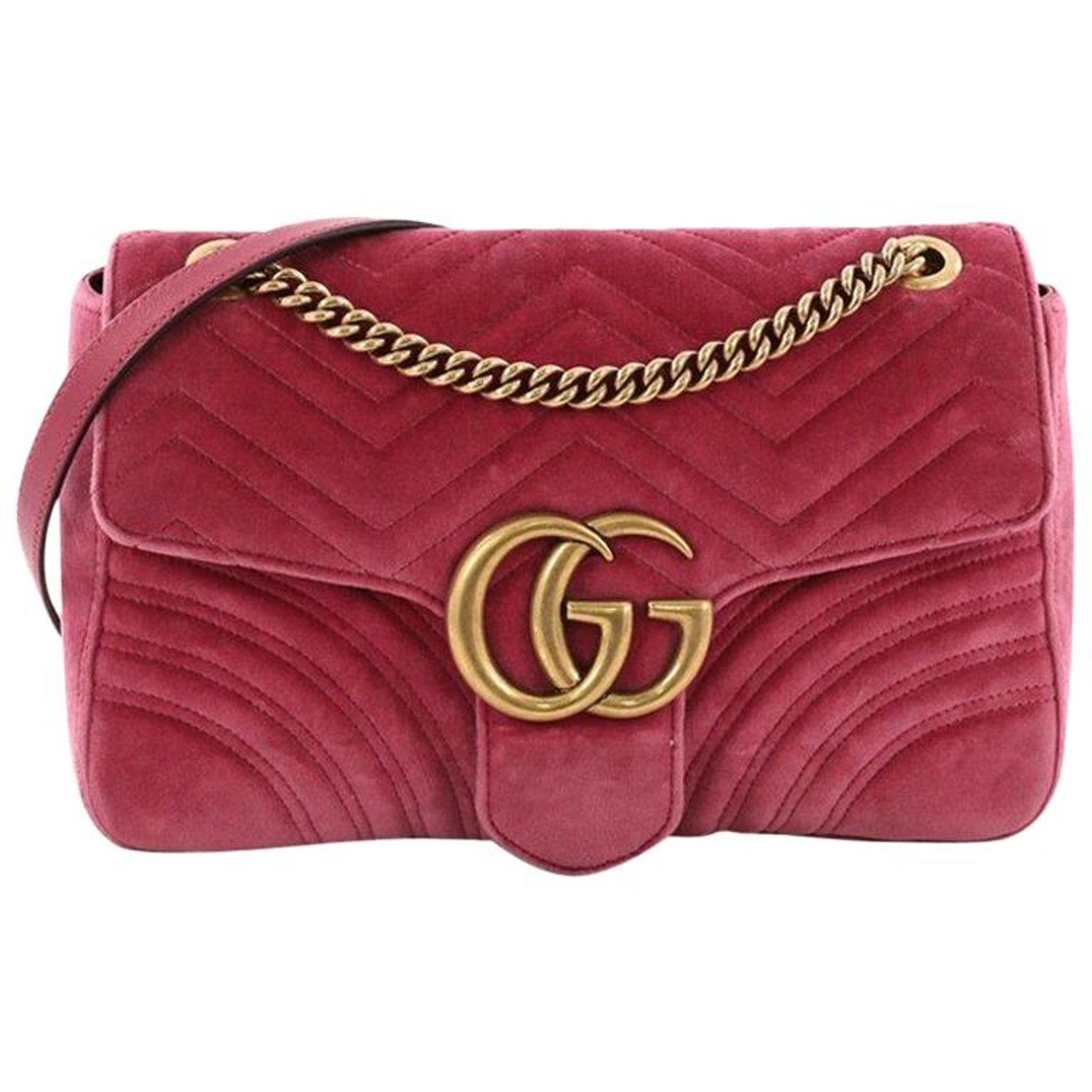 9b84d18b2 Gucci GG Marmont Flap Bag Matelasse Velvet Medium at 1stdibs
