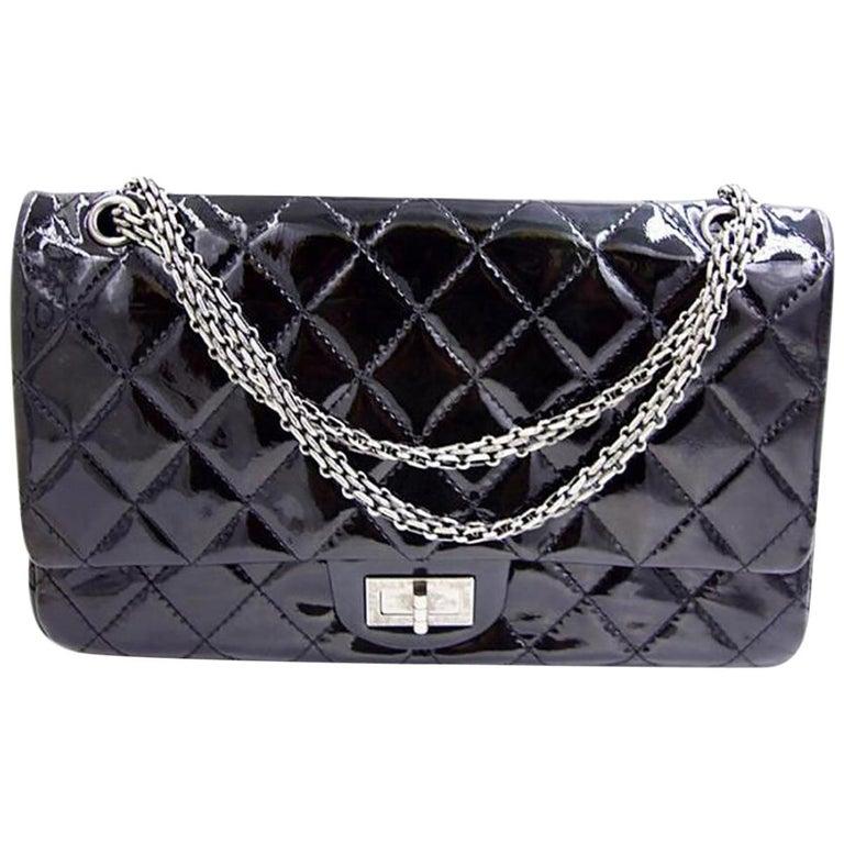 23cb43fedb7977 Chanel 2.55 Reissue 227 Black Patent Leather Shoulder Bag For Sale ...