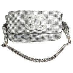Chanel Boy Limited Edition Silver Perforated Calfskin Leather Shoulder Bag