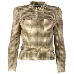 Chanel Vintage '90s Tan/Cream Patterned Wool Jacket W/ Belt Sz 40