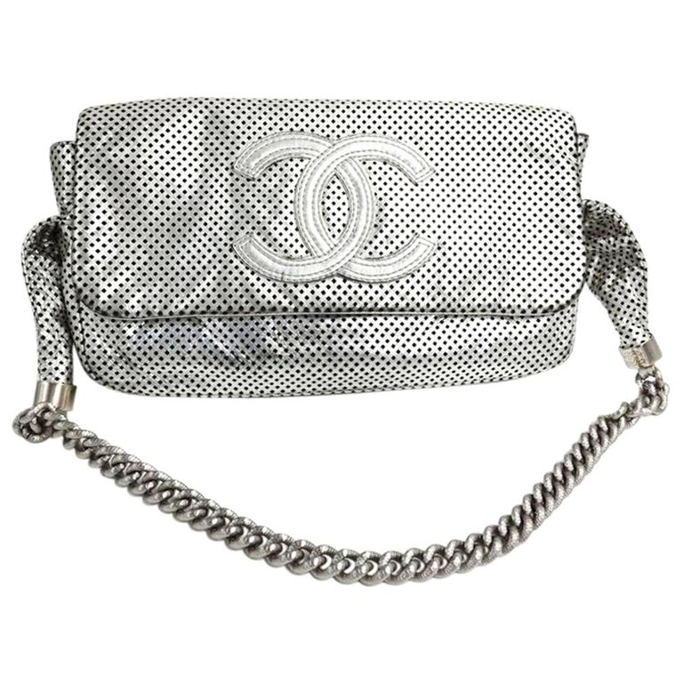 8cfd0963b5f8 Chanel Boy Limited Edition Silver Perforated Calfskin Leather Shoulder Bag  For Sale