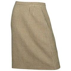 Chanel Vintage '90s Tan/Cream Wool Skirt Sz 40