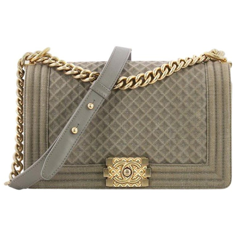 40c3dafbe06fdc Chanel Boy Flap Bag Quilted Denim Old Medium For Sale at 1stdibs