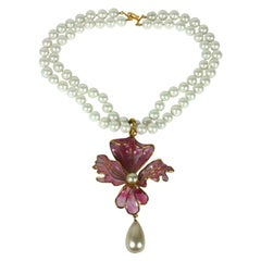 Chanel Poured Glass Orchid Pendant
