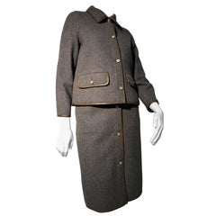 1960s Sills By Bonnie Cashin Mod Gray Wool Skirt Suit W/ Brown Leather Trim