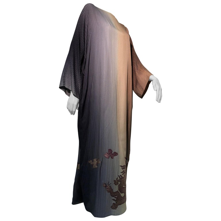 1980s Geoffrey Beene Gray & Sienna Ombré Caftan Embellished By Torso Creations For Sale