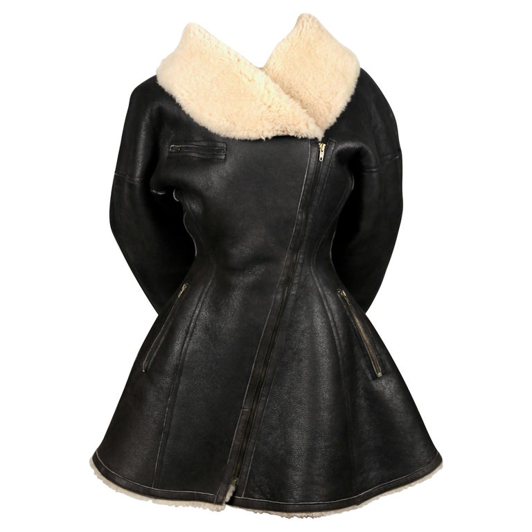 1987 AZZEDINE ALAIA flared brown shearling coat with shawl collar For Sale