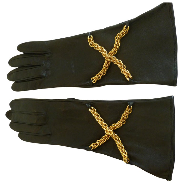 c1fc119054380 Pair of Back Leather and Brass Chain Paloma Picasso Gloves For Sale ...
