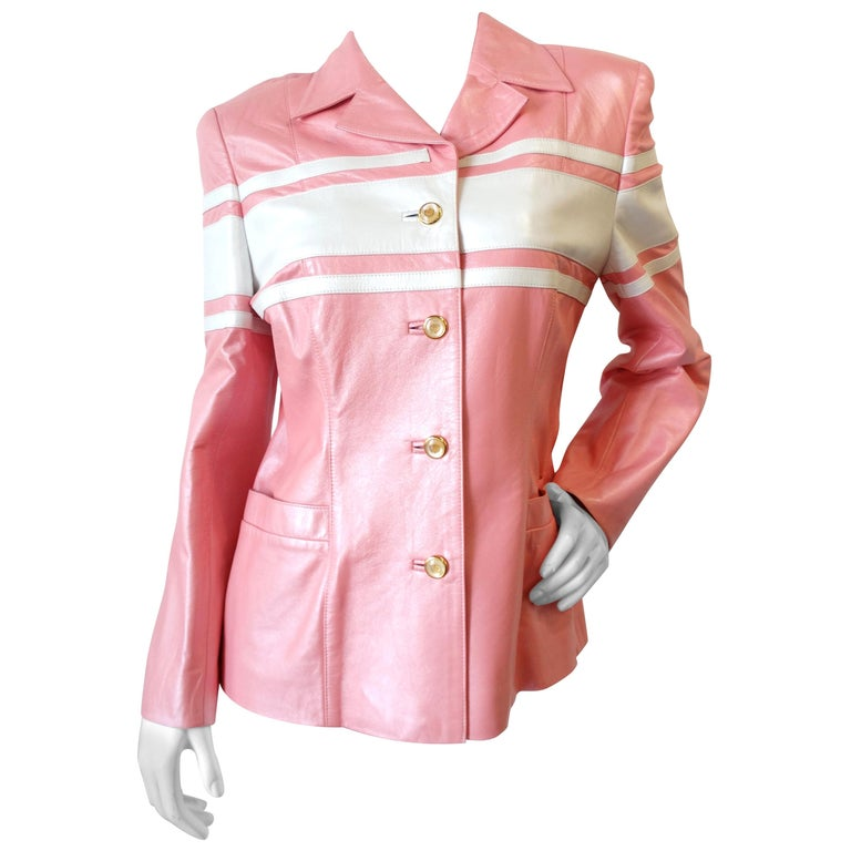 1980s Escada Racing Stripe Leather Jacket For Sale