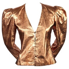 1980's BILL BLASS metallic copper leather jacket