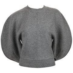 CELINE by PHOEBE PHILO charcoal grey sweater with rounded sleeves