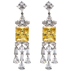 Art Deco Style Canary Cubic Zirconia Tassel Baguette Sterling Earrings