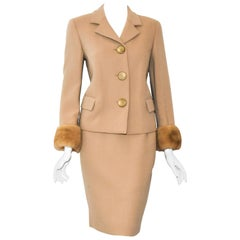 Genny Mid-Weight Wool Suit With Wide Mink Cuffs