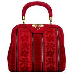 Roberta Di Camerino Vintage Red Velvet Floral Striped Frame Bag