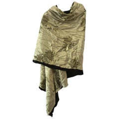 Flora Kung Gold Washed Reversible Printed Silk Chiffon Silk Jersey Shawl Wrap