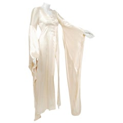1970 Biba Creme Satin Medieval Wizard Sleeve Button Down Full-Length Jacket Gown