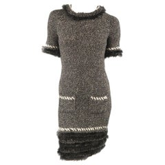CHANEL Dress - F/W 2010 - Size 2 Black & Cream Cashmere, Woven Tweed Fur Trim