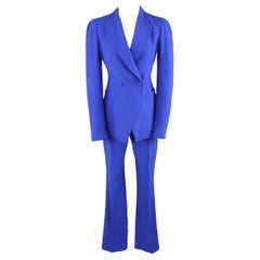 ALEXANDER MCQUEEN Size 6 Cobalt Blue Double Breasted Peak Lapel Pants Suit