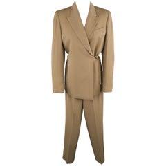 JEAN PAUL GAULTIER Size 8 Khaki Tied Double Breasted Pants Suit