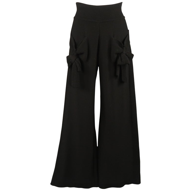 SONIA RYKIEL Size 8 Black Virgin Wool Blend Knit Wide Leg Bow Pants For Sale