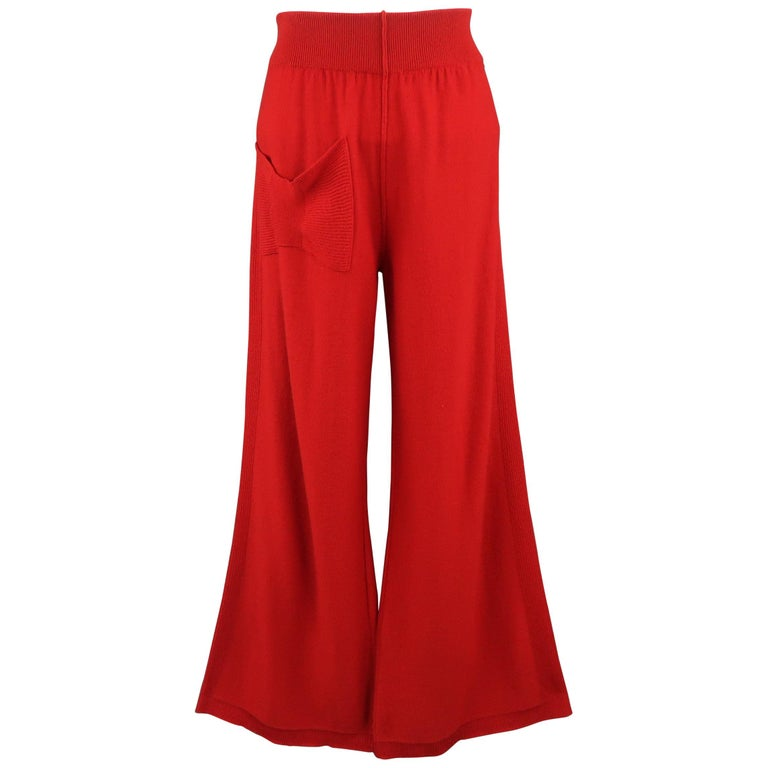 SONIA RYKIEL Size 6 Red Wool / Cashmere Knit Bow Wide Leg Pants For Sale