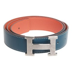 Blue Hermes belt size 90 with larger silver H in box