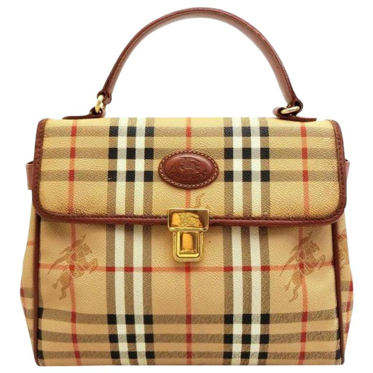 be4ed7978756 Burberry Nova Check Top Handle Kelly 231251 Beige Coated Canvas Satchel For  Sale at 1stdibs